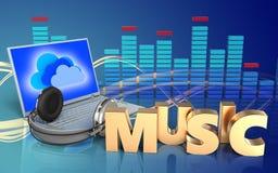 portátil e fones de ouvido do sinal da música 3d ilustração do vetor