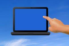 Portátil e mão Imagem de Stock