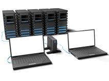 Portátil e poucos server Foto de Stock