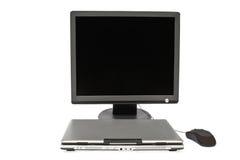 Portátil e rato lisos do fim do monitor Foto de Stock