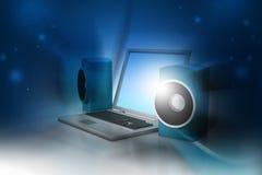 Portátil e sistema de som Fotos de Stock Royalty Free