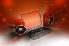 Portátil e sistema de som Fotos de Stock