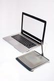 Portátil e tabuleta Foto de Stock
