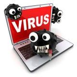 Portátil e vírus Foto de Stock