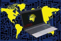 Portátil em um fundo com circuito eletrônico e mapas do mundo ilustração stock