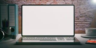 Portátil em uma mesa - fundo do brickwall ilustração 3D Fotos de Stock Royalty Free