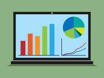 Portátil, gráficos, diagramas, estatísticas Imagem de Stock Royalty Free