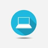 Portátil isolado no fundo azul Ícone redondo com sombra longa Imagens de Stock Royalty Free