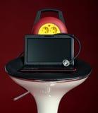 Portátil moderno em uma cadeira com soquete Fotos de Stock Royalty Free