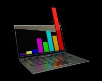 Portátil que mostra um spreadsheet isolado Fotografia de Stock Royalty Free
