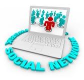 Portátil social da rede - palavras Fotos de Stock Royalty Free
