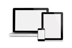 Portátil, tabuleta e telefone móvel imagem de stock royalty free