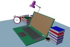portátil verde na opinião lateral 3d da tabela Fotos de Stock