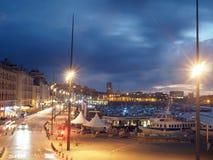 Port éditorial de nuit de Marseille Image libre de droits