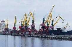 Port, ładowanie, żurawie, węgiel, ładunku terminal Obrazy Stock