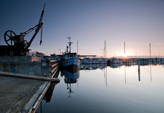 Port. A small port in denmark at sunrise Stock Images