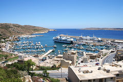 Port. A panorama view of Mgarr port with ferry on Gozo island, Malta Stock Photography