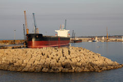 Port. With focus on the breakwater in Pozzallo, Sicily Stock Photos