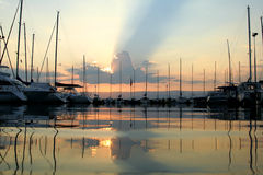 Port. In sunset Stock Photos