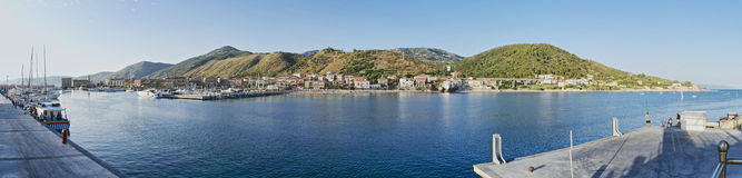Port of Acciaroli panoramic view Royalty Free Stock Images