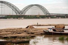 Port activities on Ayeyarwaddy river,Myanmar. Stock Photography