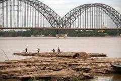 Port activities on Ayeyarwaddy river,Myanmar. Stock Image