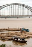 Port activities on Ayeyarwaddy river,Myanmar. Royalty Free Stock Photo