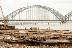 Port activities on Ayeyarwaddy river,Myanmar. Stock Photos