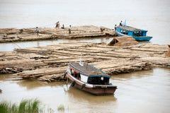 Port activities on Ayeyarwaddy river,Myanmar. Stock Photo