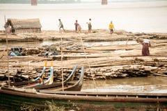 Port activities on Ayeyarwaddy river,Myanmar. Stock Images