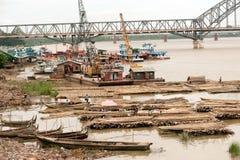 Port activities on Ayeyarwady river,Myanmar. Stock Photography
