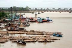 Port activities on Ayeyarwady river,Myanmar. Stock Photos