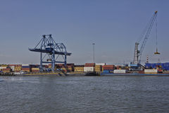 Port activity in the port of Rotterdam Royalty Free Stock Image