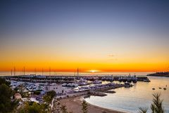Port Adriano Luxury Harbor Palma Mallorca Spain. Exclusive luxury harbor Port Adriano designed by Philippe Starck. One of the most modern marinas in the Stock Photo