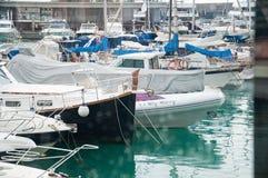 Boats moored in the marina. PORT ADRIANO, MALLORCA, SPAIN - NOVEMBER 15, 2011: Boats moored in the marina on November 15, 2011 in Port Adriano, Mallorca, Spain Royalty Free Stock Photos