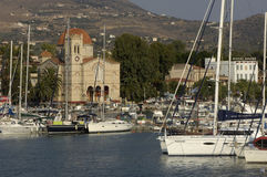 The port of Aegina in Greece. Greece, island of Aegina, horizontal picture Royalty Free Stock Image
