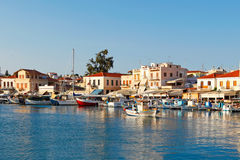 The port in Aegina, Greece. Boats in the port of Aegina island, Greece Royalty Free Stock Photos