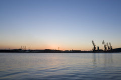 Port in the afternoon. View of the commercial port of Avil�s, Asturias, north of Spain, at the very end of afternoon Royalty Free Stock Image