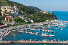 Port of Agropoli. Houses on the coast of Cilento Royalty Free Stock Images