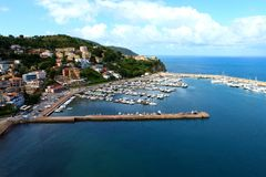 Port of agropoli, salerno. The Port of Agropoli is a safe shelter a few steps from the historic center of the city of Agropoli, from the shopping streets in the Stock Photos