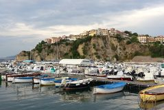 Port of Agropoli: view of the historic center. Yachting boats moored at the Port of Agropoli. The historical center is visible in the background. Agropoli is Royalty Free Stock Photography