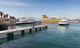 Port of Ajaccio, Corsica. Small passenger ferry Stock Photo