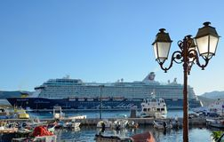 The port of Ajaccio. A cruise liner and many various watercrafts are moored in the port of the Corsican capital Royalty Free Stock Image