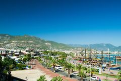 Port of Alanya. Alanya is a beach resort city and a component district of Antalya Province on the southern coast of Turkey royalty free stock images