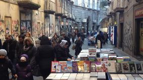 Port'Alba Naples - Italy. NAPLES, ITALY- DECEMBER 30: Port'Alba historic street booksellers, in old town on December 30, 2014 in Naples- Italy stock video