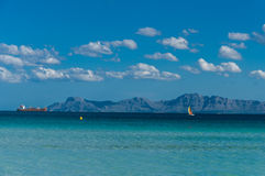 Port Alcudia. Ship and yacht on the sea near  Alcudia  in Spain island Mallorca  at  late summer Royalty Free Stock Image