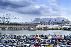 The port of Algeciras, Spain, and the Rock of Gibraltar. Algeciras, Spain - December 28, 2015: A panoramic view of the port of Algeciras, Spain, and the Rock of stock photography