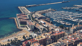 Port of Alicante. Aerial view of the Port of Alicante - a seaport in Spain on the Mediterranean Sea Royalty Free Stock Photos