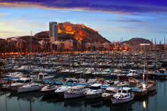 Port of Alicante in dawn.  Spain Royalty Free Stock Photo