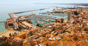 Port in Alicante with docked yachts. Spain royalty free stock image